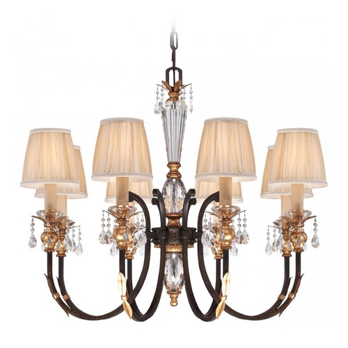 Metropolitan Lighting Crystal Six-Light Chandelier in Bronze Finish with Pleated Shades  N6648-258B