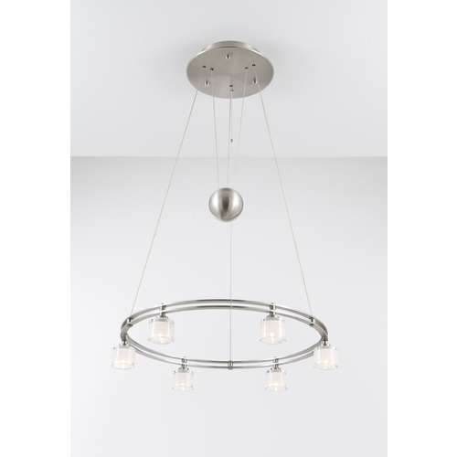 Holtkoetter Lighting Holtkoetter Modern Low Voltage Drum Pendant Light with White Glass in Satin Nickel Finish 5556 SN G5011