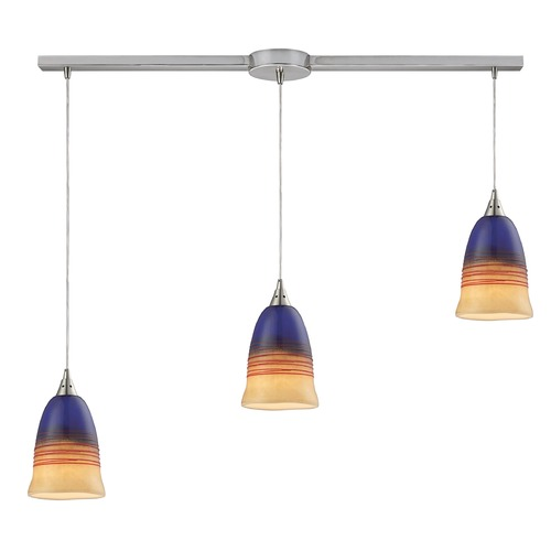 Elk Lighting Elk Lighting Canyon Satin Nickel Multi-Light Pendant with Bowl / Dome Shade 31615/3L