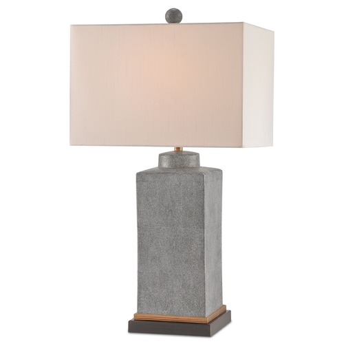 Currey and Company Lighting Currey and Company Berlyn Gray/brass/dark Brown Table Lamp with Rectangle Shade 6440