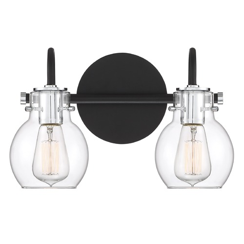 Quoizel Lighting Earth Black and Chrome 2-Light Bathroom Light with Clear Shade ANW8602EK