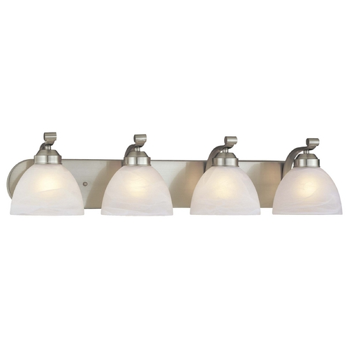 Minka Lavery 4-Lt Bathroom Light in Brushed Nickel - Etched Marble Glass 5424-84