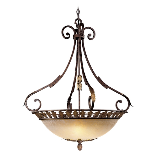 Metropolitan Lighting Pendant Light with Beige / Cream Glass in Golden Bronze Finish N6242-355