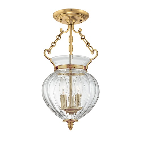 Hudson Valley Lighting Semi-Flushmount Light with Clear Glass in Aged Brass Finish 780-AGB