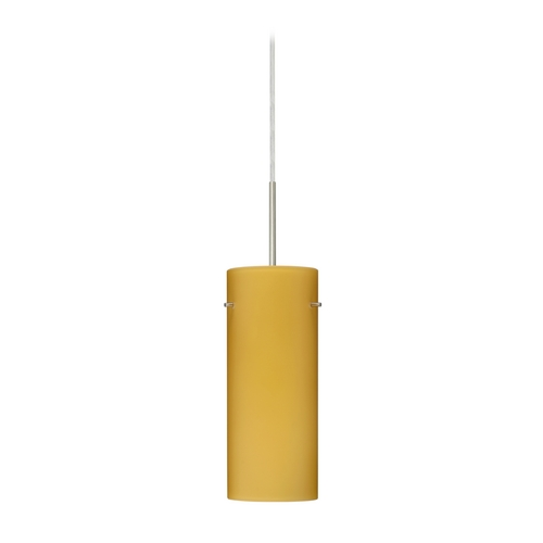Besa Lighting Modern Pendant Light with Beige / Cream Glass in Satin Nickel Finish 1JT-4123VM-SN