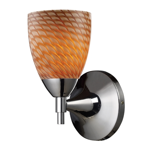 Elk Lighting Sconce Wall Light with Art Glass in Polished Chrome Finish 10150/1PC-C