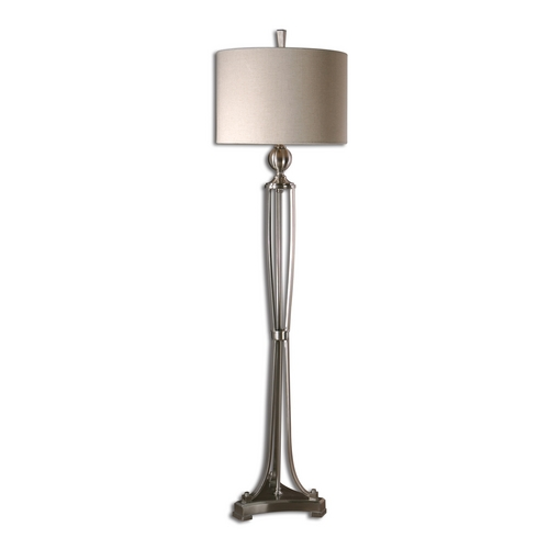 Uttermost Lighting Modern Floor Lamp with Beige / Cream Shade in Brushed Nickel Finish 28523-1