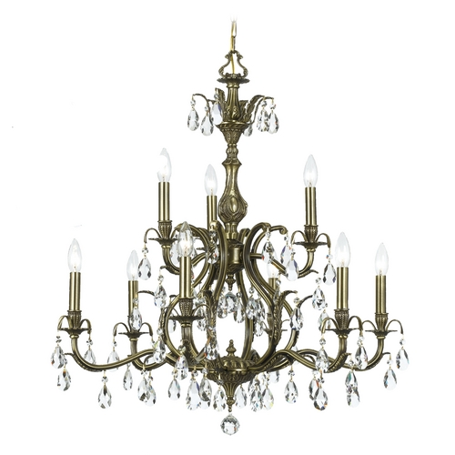 Crystorama Lighting Crystal Chandelier in Antique Brass Finish 5569-AB-CL-SAQ