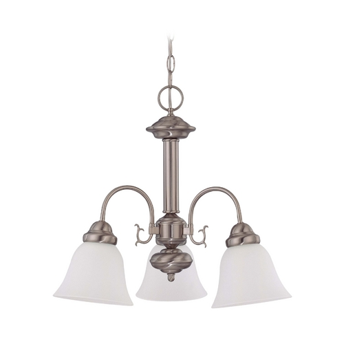 Nuvo Lighting Mini-Chandelier with White Glass in Brushed Nickel Finish 60/3291