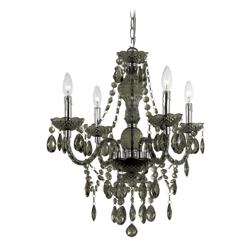 AF Lighting Plug In Black Crystal Chandelier with Swag Kit 8351-4H