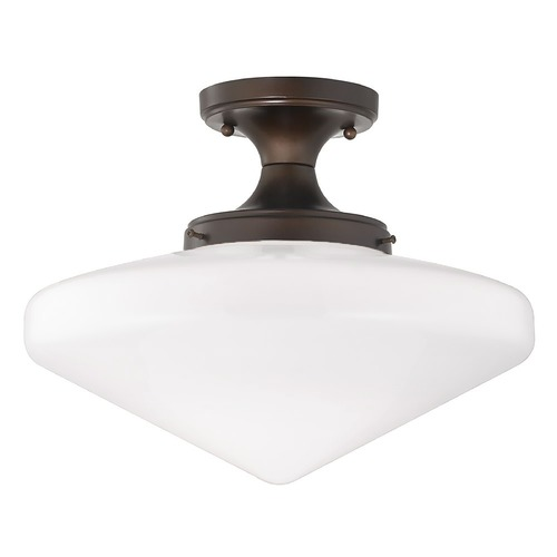 Design Classics Lighting 14-Inch Wide Schoolhouse Ceiling Light in Bronze Finish FES-220/ GE14