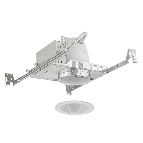 Recesso Lighting by Dolan Designs 4-Inch New Construction Recessed Light Kit with White Baffle Trim TC4/T403W-WH