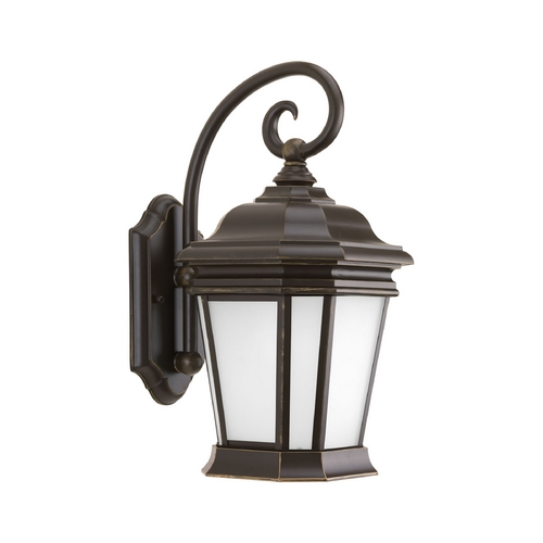 Progress Lighting Outdoor Wall Light with White Glass in Oil Rubbed Bronze Finish P5686-108
