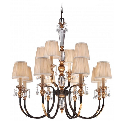Metropolitan Lighting Crystal Chandelier with Pleated Shades in Bronze Finish N6649-258B