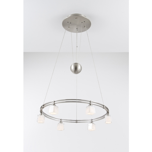 Holtkoetter Lighting Holtkoetter Modern Low Voltage Pendant Light with White Glass in Satin Nickel Finish 5556 SN G5012