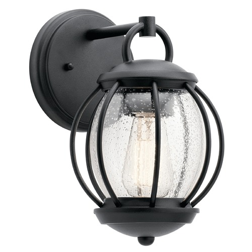 Kichler Lighting Seeded Glass Outdoor Wall Light Black Kichler Lighting 49726BKT