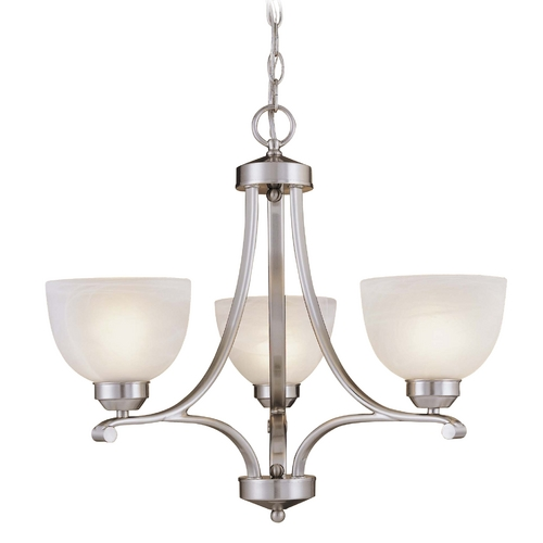 Minka Lavery 3-Lt Chandelier in Brushed Nickel Finish - Etched Marble Glass 1423-84