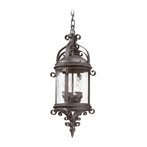 Troy Lighting Outdoor Hanging Light with Clear Glass in Old Bronze Finish FCD9124OBZ