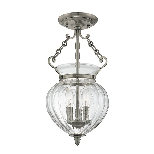 Hudson Valley Lighting Semi-Flushmount Light with Clear Glass in Historic Nickel Finish 780-HN