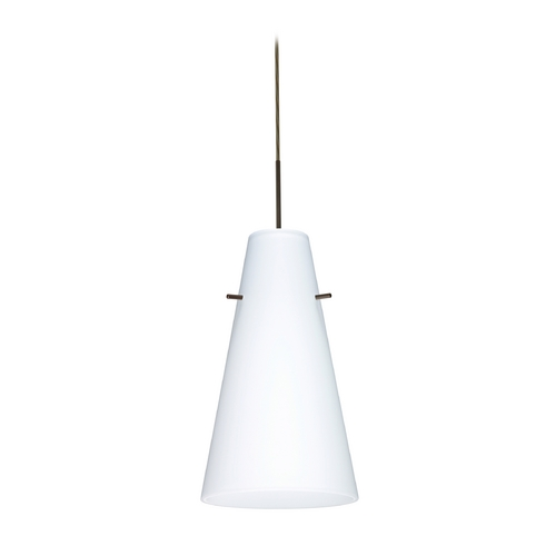 Besa Lighting Modern Pendant Light with White Glass in Bronze Finish 1JT-412407-BR