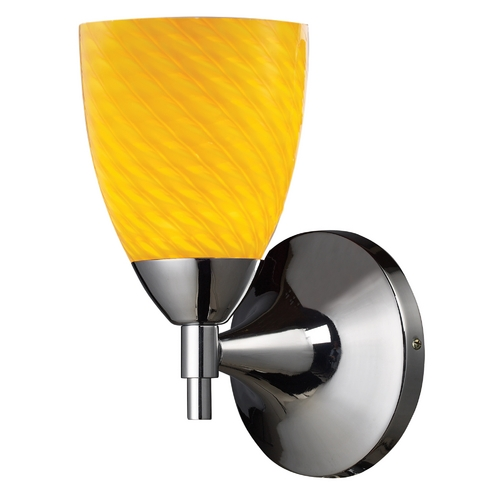 Elk Lighting Sconce Wall Light with Art Glass in Polished Chrome Finish 10150/1PC-CN