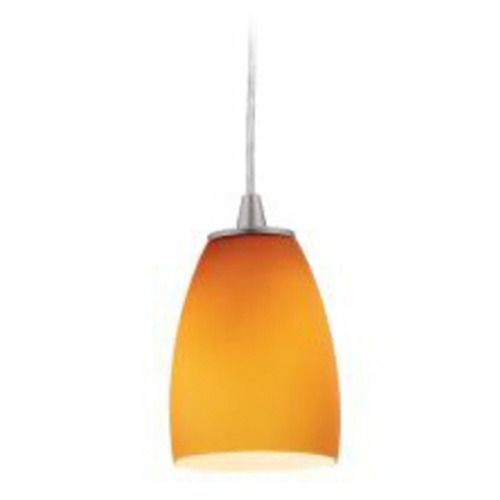 Access Lighting Modern Mini-Pendant Light with Amber Glass 28069-2C-BS/AMB