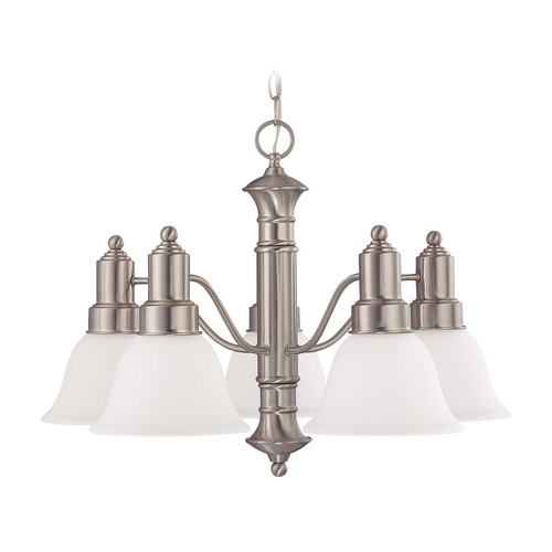 Nuvo Lighting Chandelier with White Glass in Brushed Nickel Finish 60/3292