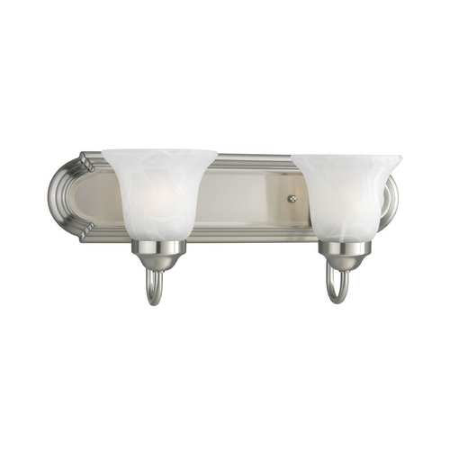 Progress Lighting Progress Bathroom Light with Alabaster Glass in Brushed Nickel Finish P3052-09EBWB