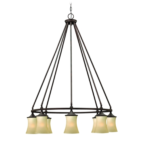 Hinkley Lighting Chandelier with Amber Glass in Victorian Bronze Finish 4508VZ