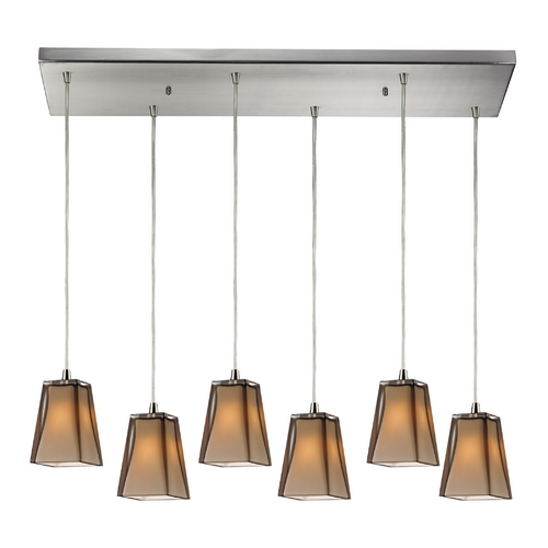 Elk Lighting Modern Multi-Light Pendant Light with Brown Glass and 6-Lights 31143/6RC