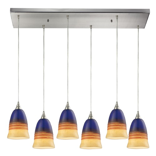 Elk Lighting Elk Lighting Canyon Satin Nickel Multi-Light Pendant with Bowl / Dome Shade 31615/6RC