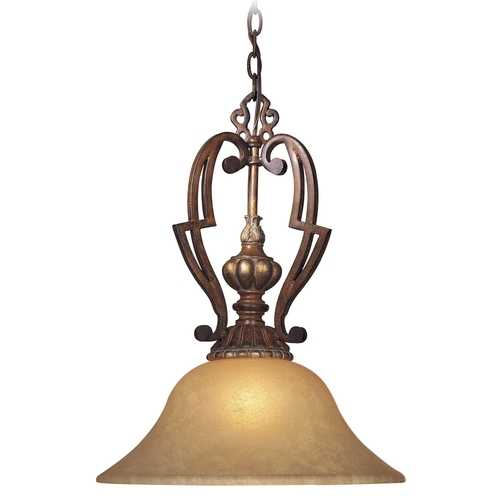 Minka Lavery Pendant Light with Beige / Cream Glass in Belcaro Walnut Finish 951-126