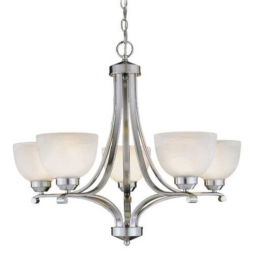 Minka Lavery 5-Lt Chandelier in Brushed Nickel Finish - Etched Marble Glass 1425-84