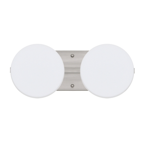 Besa Lighting Bathroom Light with White Glass in Satin Nickel Finish 2WS-773807-SN