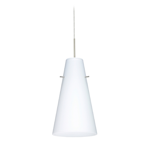 Besa Lighting Modern Pendant Light with White Glass in Satin Nickel Finish 1JT-412407-SN
