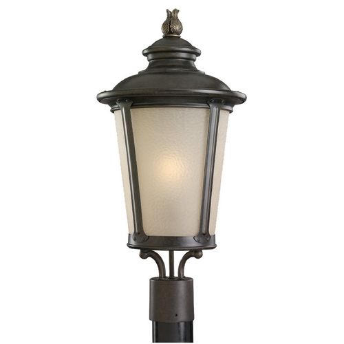 Sea Gull Lighting Post Light with Amber Glass in Burled Iron Finish 89240BL-780