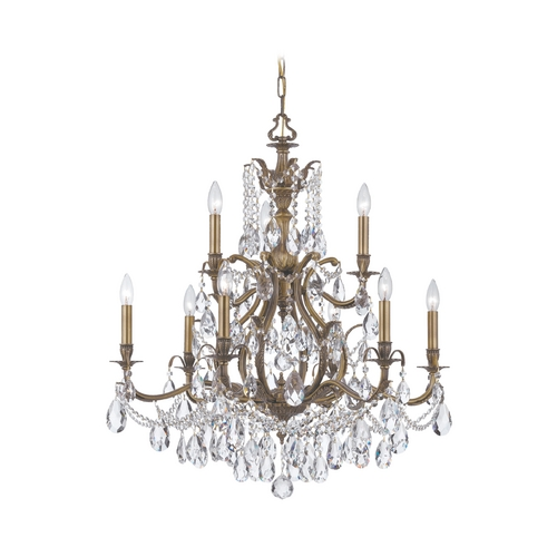 Crystorama Lighting Crystal Chandelier in Antique Brass Finish 5579-AB-CL-S