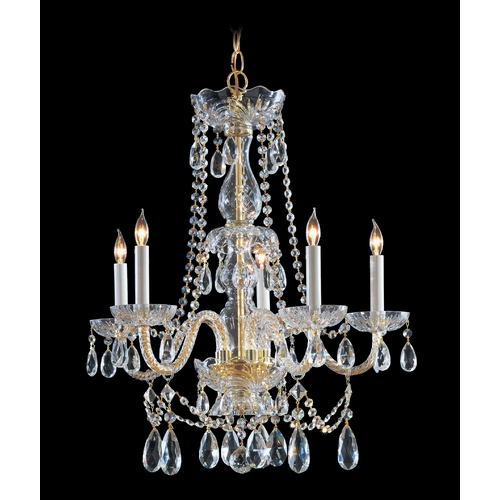 Crystorama Lighting Crystal Chandelier in Polished Brass Finish 1125-PB-CL-S