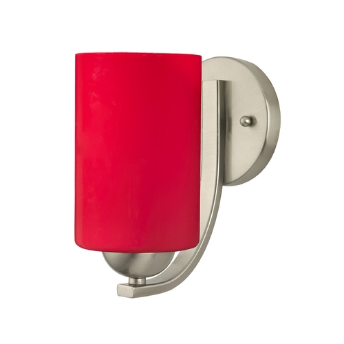 Design Classics Lighting Contemporary Wall Sconce with Red Cylinder Glass 585-09 GL1008C