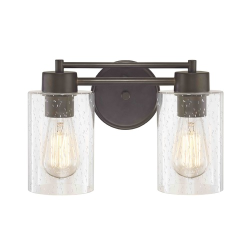Design Classics Lighting Industrial Seeded Glass Bathroom Light Bronze 2 Lt 702-220 GL1041C