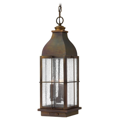 Hinkley Lighting Industrial Seeded Glass Outdoor Hanging Light Bronze Hinkley Lighting 2042SN