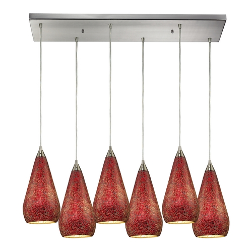 Elk Lighting Modern Multi-Light Pendant Light with Red Glass and 6-Lights 546-6RC-RBY-CRC