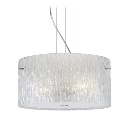 Besa Lighting Besa Lighting Tamburo Satin Nickel Pendant Light with Drum Shade 1KV-4008GL-SN