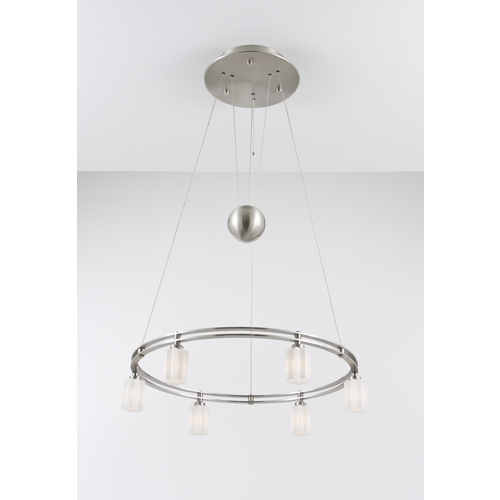 Holtkoetter Lighting Holtkoetter Modern Low Voltage Pendant Light with White Glass in Satin Nickel Finish 5556 SN G5014
