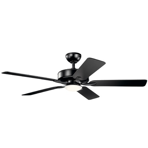 Kichler Lighting Basics Pro Designer Satin Black LED 52-Inch Ceiling Fan with Light 3000K 330019SBK