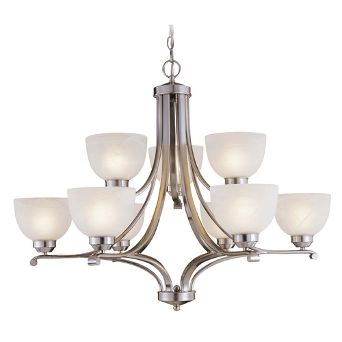 Minka Lavery 9-Lt Chandelier in Brushed Nickel Finish - Etched Marble Glass 1429-84