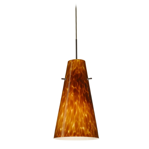 Besa Lighting Modern Pendant Light with Amber Glass in Bronze Finish 1JT-412418-BR