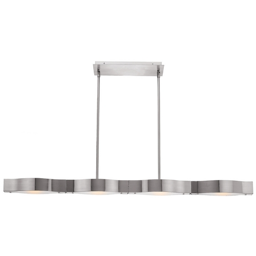 Access Lighting Modern Semi-Flushmount Light with White Glass in Brushed Steel Finish 62316-BS/FST