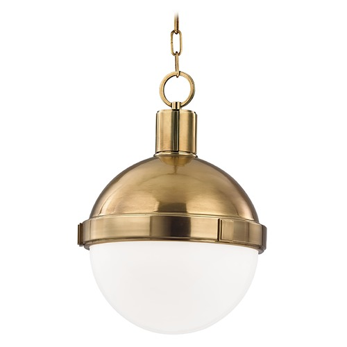 Hudson Valley Lighting Pendant Light with White Glass in Aged Brass Finish 612-AGB
