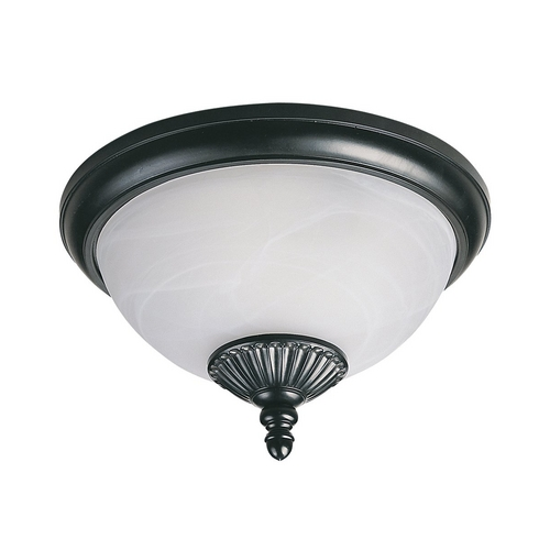 Sea Gull Lighting Close To Ceiling Light with White Glass in Black Finish 89248PBLE-12